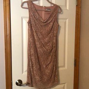 Blush pink lace formal dress.